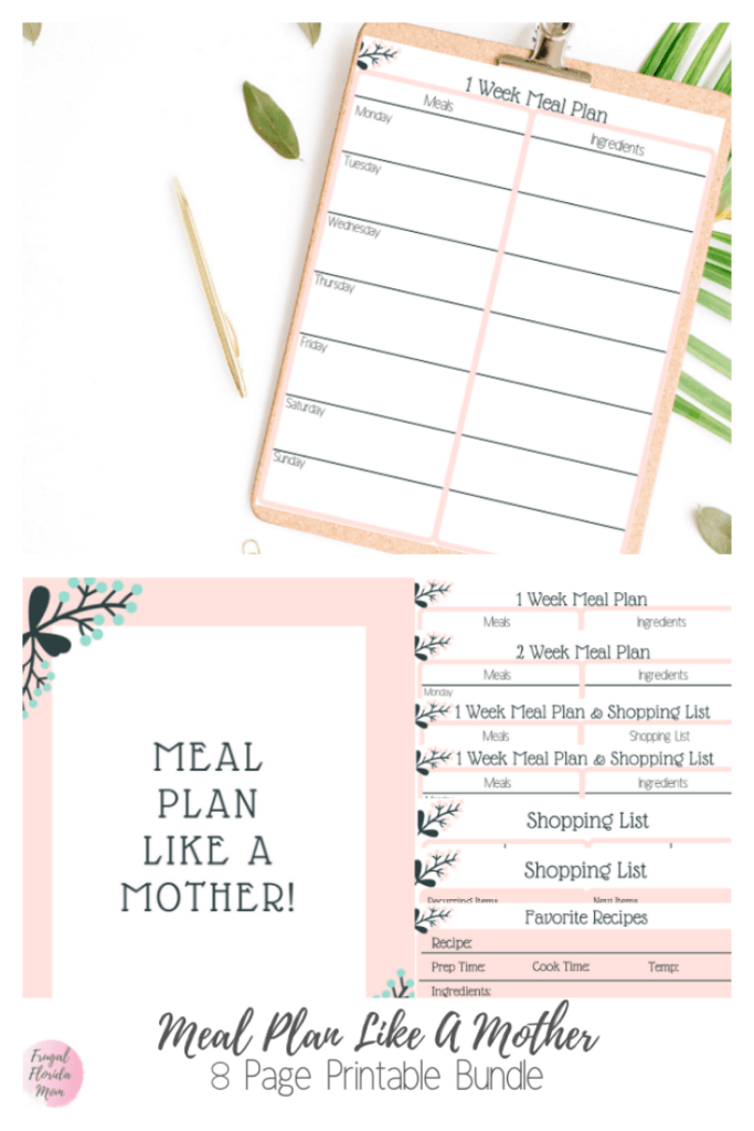Meal Plan Like A Mother! Printable 8-Page Bundle - 20-Page Plan Like A Mother! Printable Bundle - Frugal Florida Mom
