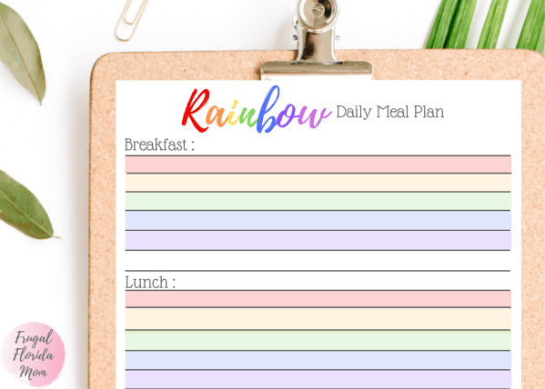 Rainbow Meal Plan - Printable Planner, Tracker and Recipe Pages