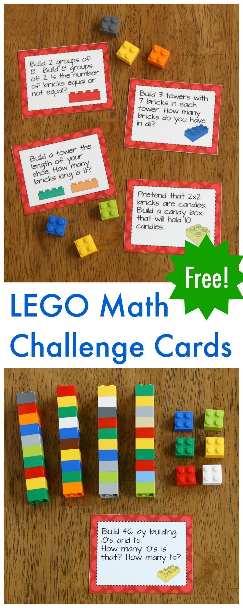 medium resolution of LEGO Math Printable Challenge Cards - Frugal Fun For Boys and Girls