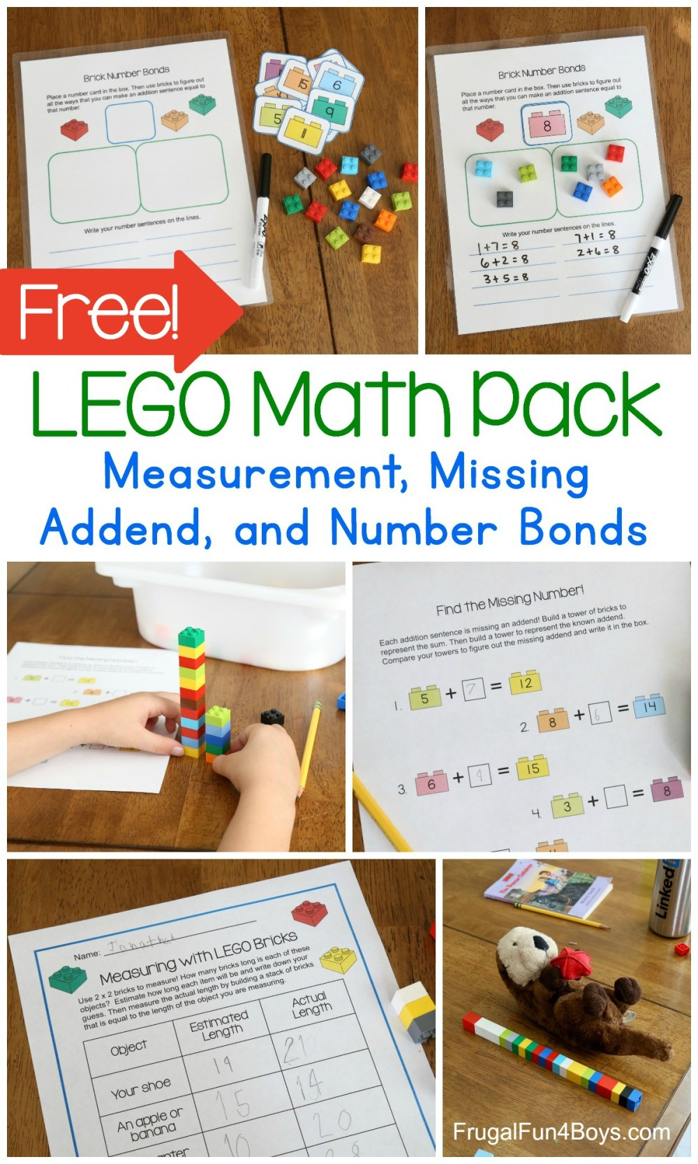 medium resolution of First Grade Math with LEGO Bricks Printable Pack - Frugal Fun For Boys and  Girls