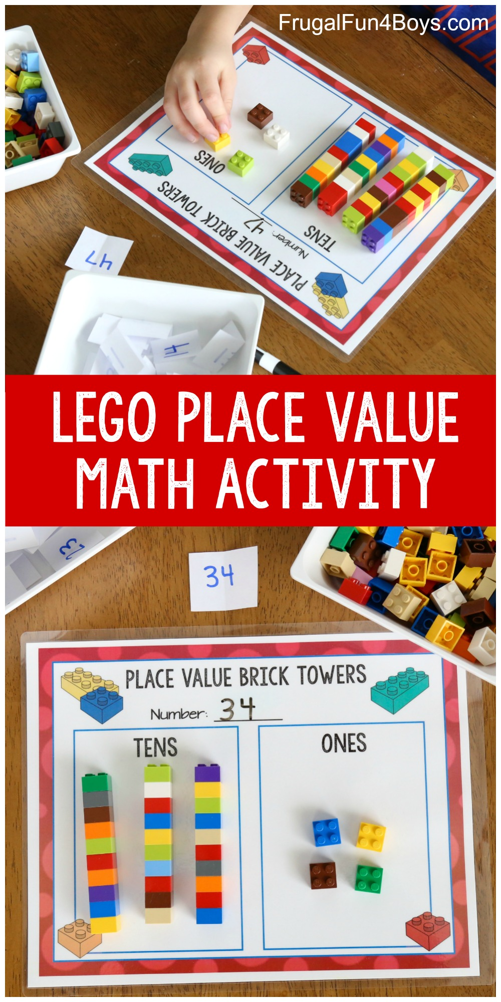 medium resolution of Hands-On Place Value Math Activity with LEGO Bricks - Frugal Fun For Boys  and Girls