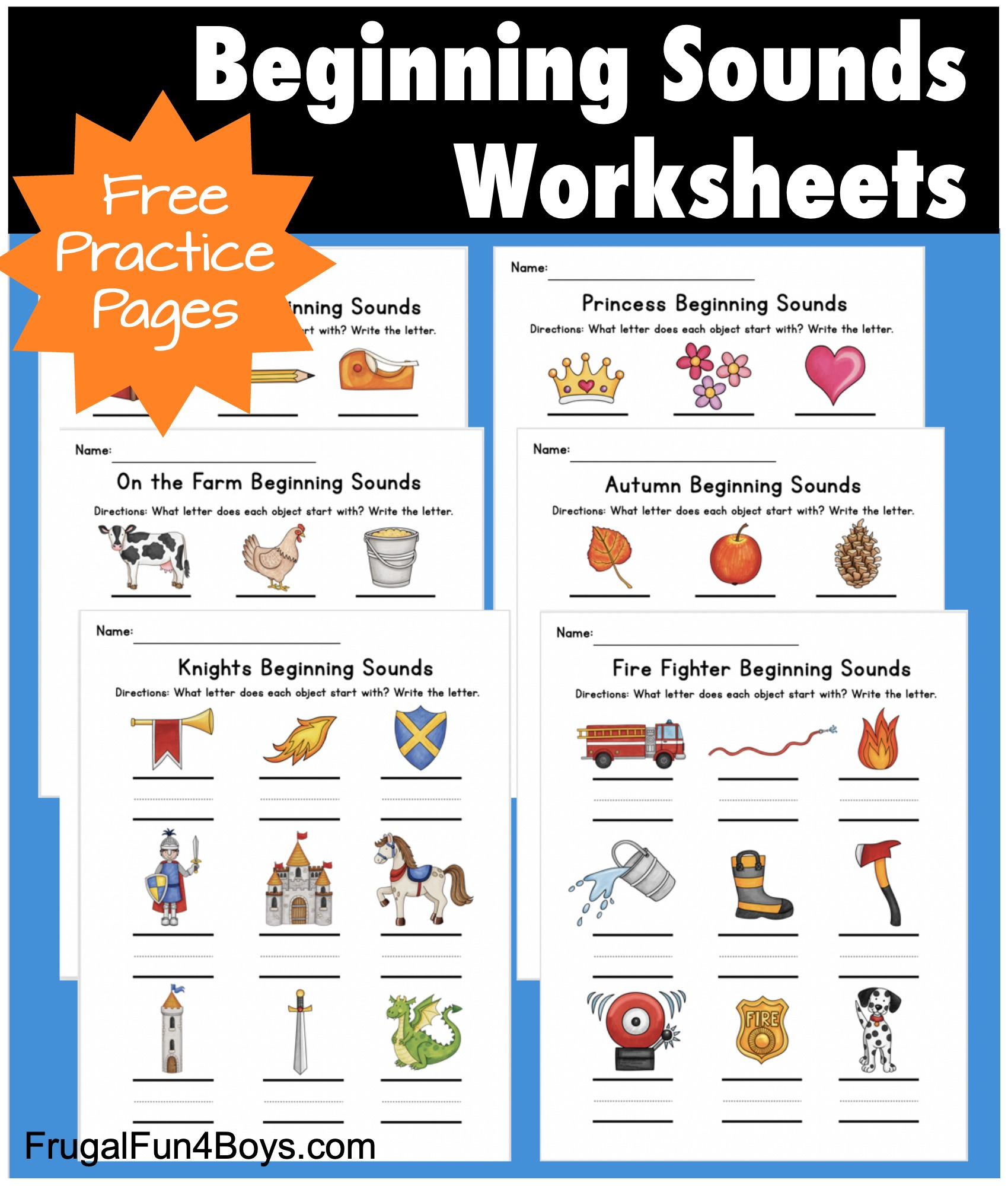 Printable Beginning Sounds Phonics Worksheets