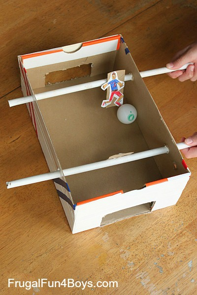 Build a shoebox foosball game