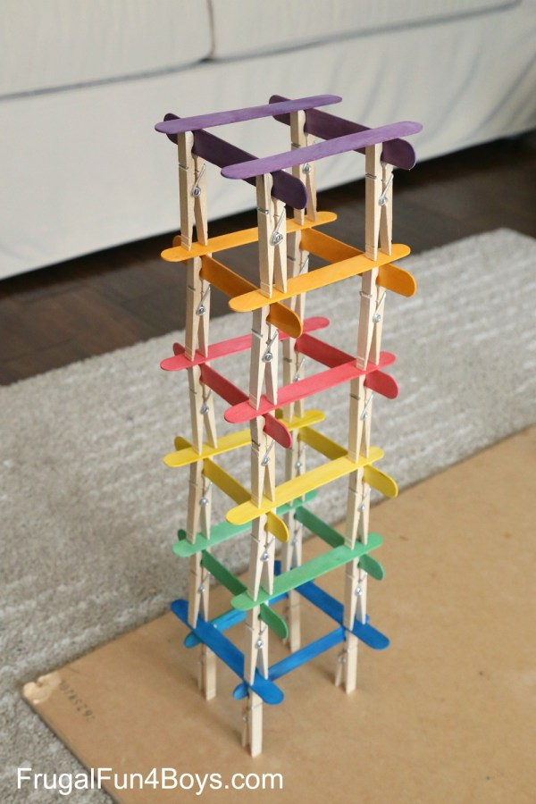 Clothespin and Popsicle Sticks Tower