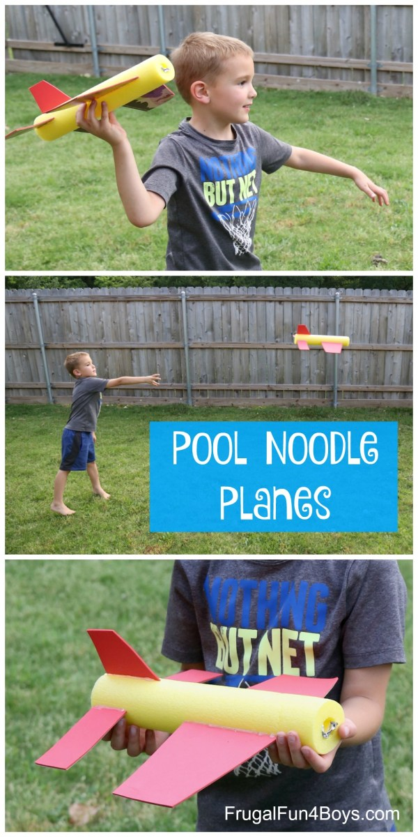 Pool Noodle Planes Fly - Frugal Fun