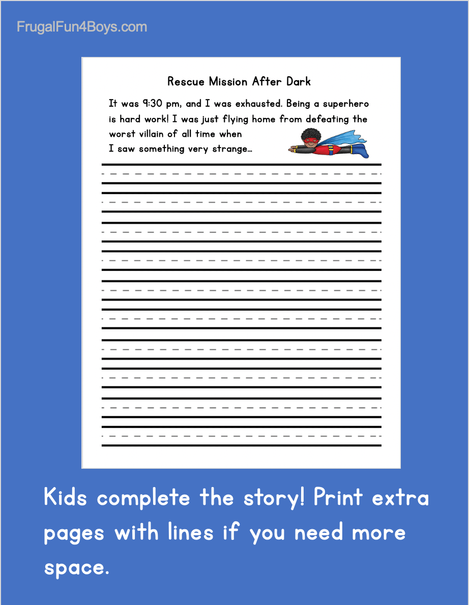 medium resolution of Printable Superhero Writing Starters - Frugal Fun For Boys and Girls