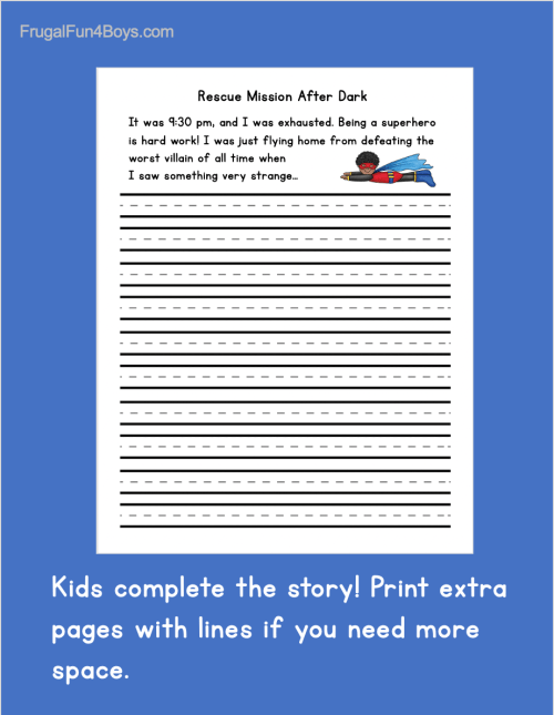 small resolution of Printable Superhero Writing Starters - Frugal Fun For Boys and Girls