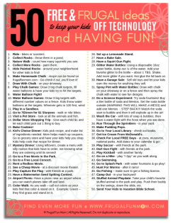 50 Free & Frugal Ideas To Keep Kids Off Technology & Having Fun!
