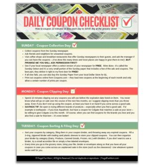 Daily Coupon Checklist | Frugal Fun Mom