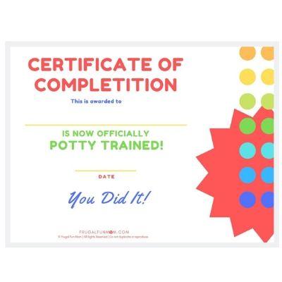 Potty Training Certificate | Frugal Fun Mom