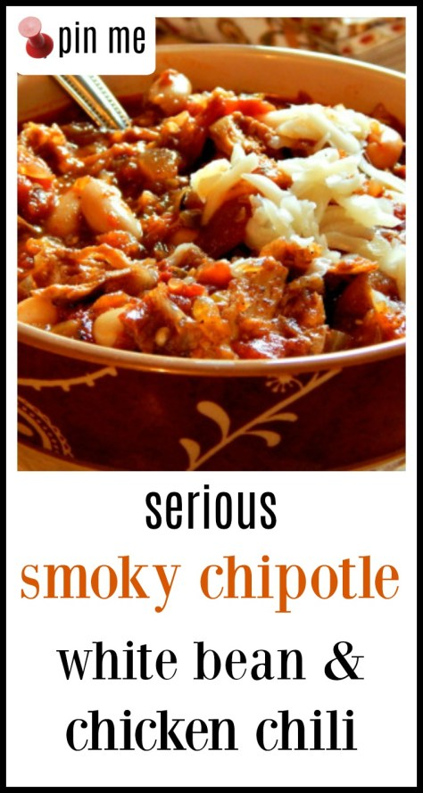 Serious Chipotle Chicken Chili - this is not the toss in your crockpot and expect to feed the 3 year old chili! This is a spicy, smoky,,earthy pot of chili for those who love chili! It could win a contest type chili.