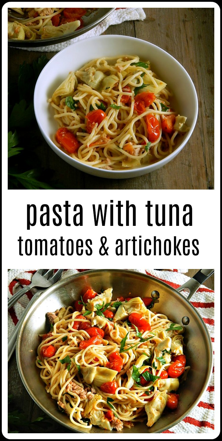 Pasta with Tuna, Tomatoes, Artichokes - a perfect budget meal. Fast, easy cheap, fresh, filling and protein packed. Serve hot or room temperature! #PastaTuna #PastaTunaTomatoesArtichokes