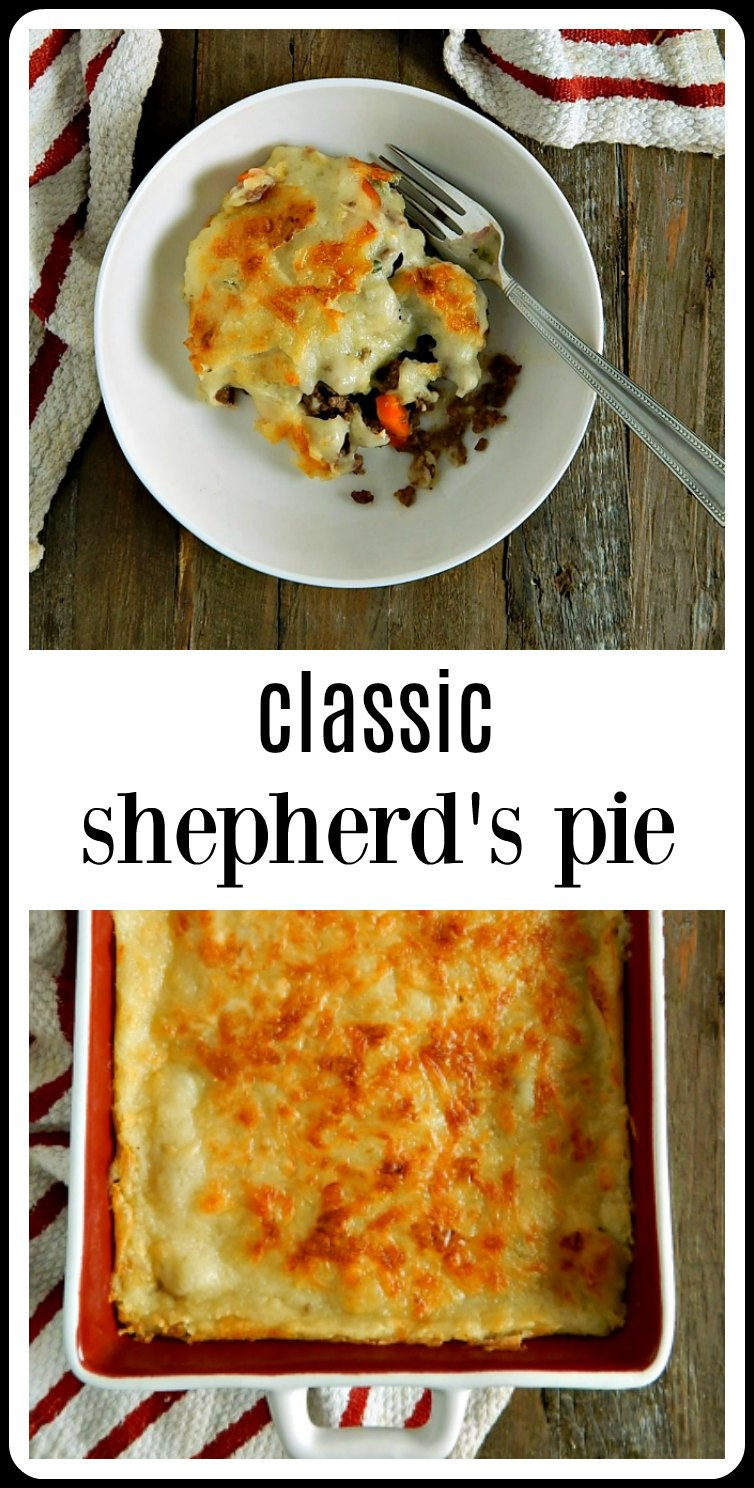 Classic Shepherds Pie (and yes, this is beef but lamb can be used) made in the simple, homestyle way as it's been done for centuries. If you've forgotten just how good simple, home cooking can be, make this! Soon! #ClassicShepherdPie #ShepherdsPie