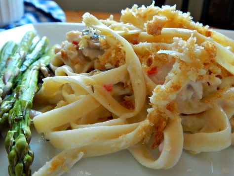Turkey Tetrazzini made with a substitute for canned soup, cream of anything soup