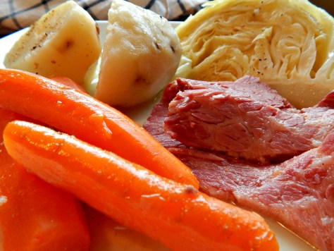 Corned Beef & Cabbage Dinner - sliced beautifully with a kitchen slicer
