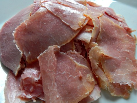 Sliced Ham, 69 cents a pound, about 35 cents for 8 ounces.