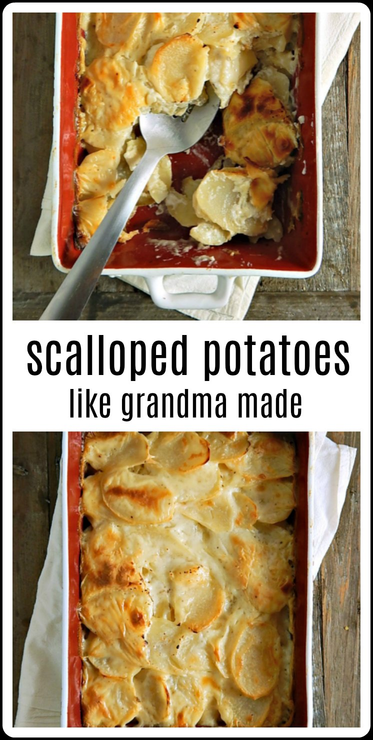 Scalloped Potatoes the Old fashioned 1950's Betty Crocker version, just like your Grandma made! These are still the best after all these years! Add ham or cheese to make these a hearty meal. #ScallopedPotatoes #ClassicScallopedPotatoes #GrandmasScallopedPotatoes