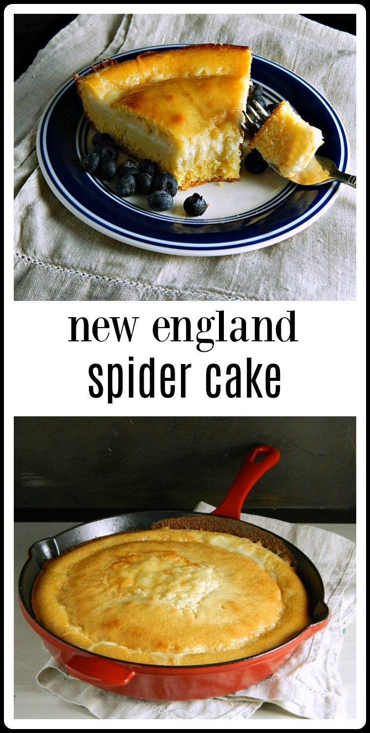 Super easy and super delish, this old-fashioned Spider Cake is like a cornbread cousin. It's a cross between cornbread and cake. Cream poured in the center before baking turns into a layer of custard running through the cake! #SpiderCake #Cornbread #NewEnglandSpiderCake
