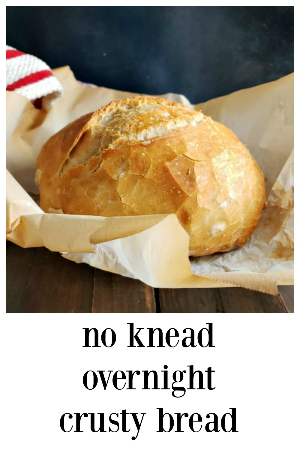 "No-Knead Overnight Crusty Bread: It couldn't be easier or more ""hands-off."" 5 minutes to mix up, toss in the oven the next day. You'll look like a genius! #CrustyBread #ArtisanBread #NoKneadBread #BreadRecipesHomemade #HomemadeRecipes #EasyBread #BreadBaking #Bread"