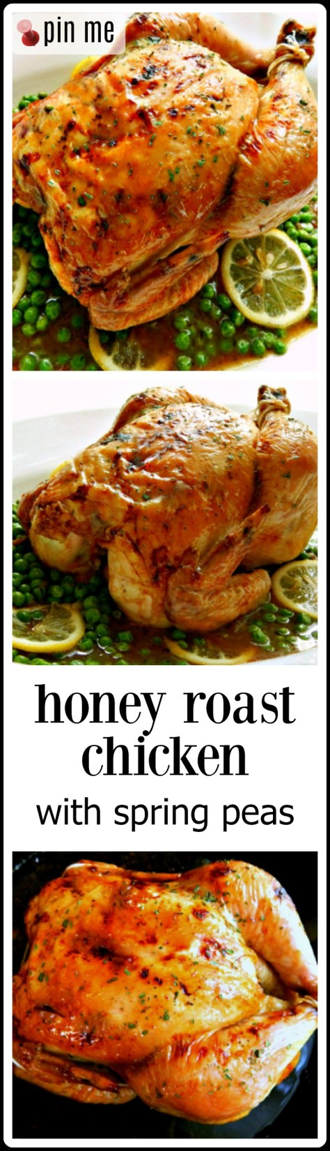 Honey Roast Chicken is marvelous! The chicken is moist, the skin is  golden, crunchy, chewy, sweet, and salty, crispy deliciousness. The meat juicy and flavorful, and the spring peas? Just the right touch. The resulting sauce? Heaven!