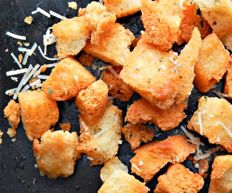 home-made croutons, bread, olive oil, cheese, herbs