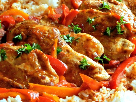 Basque Chicken - Poulet Basquaise, chicken, wine, ,peppers, piperade, sausage