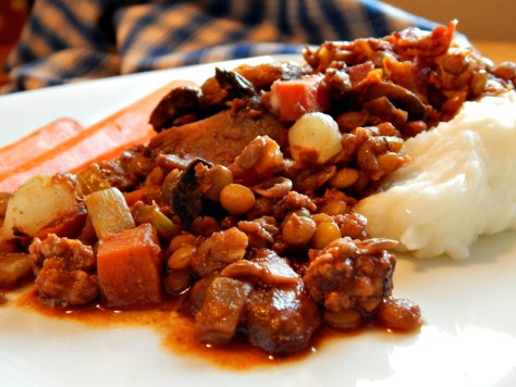 Lentils with Chorizo, Carrots & Wine