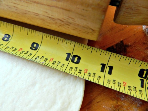 The standard rolling pin is 10 1/2 inches – knowing the length saves you from measuring