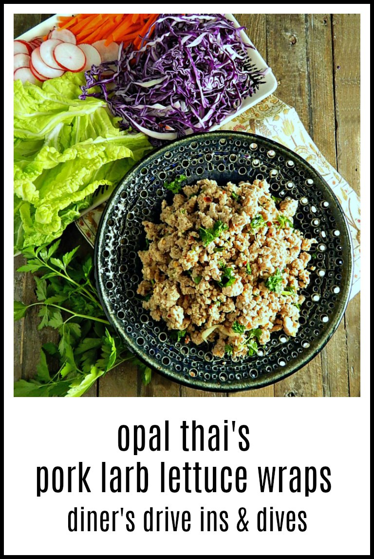Opal Thai's Pork Larb Lettuce Wraps, as seen on Diner's Drive-Ins & Dives. An easy fun way to get in your veggies. Best wraps, ever! #LettuceWraps #PorkLarb