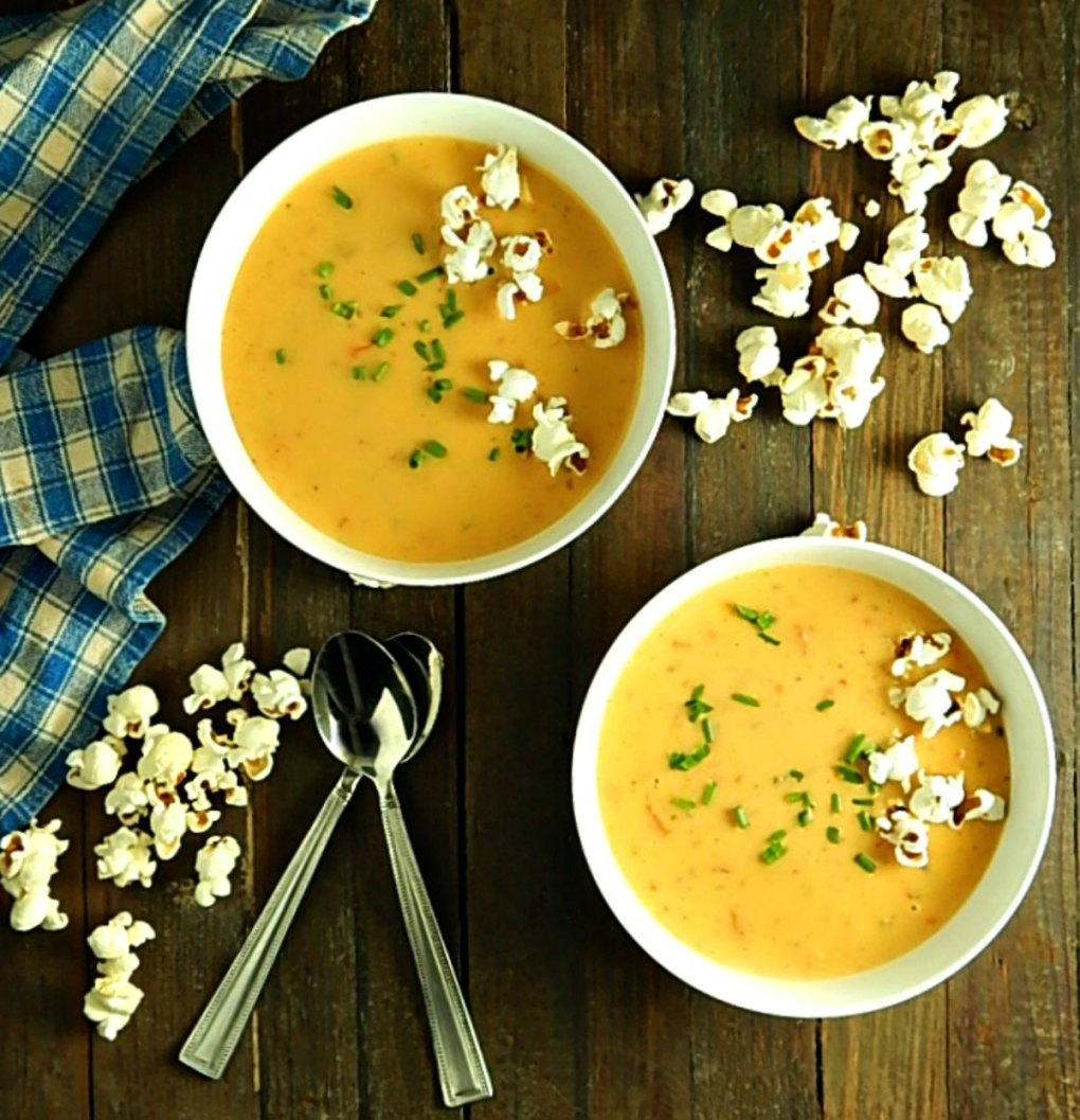 Beer Cheese Soup with Popcorn