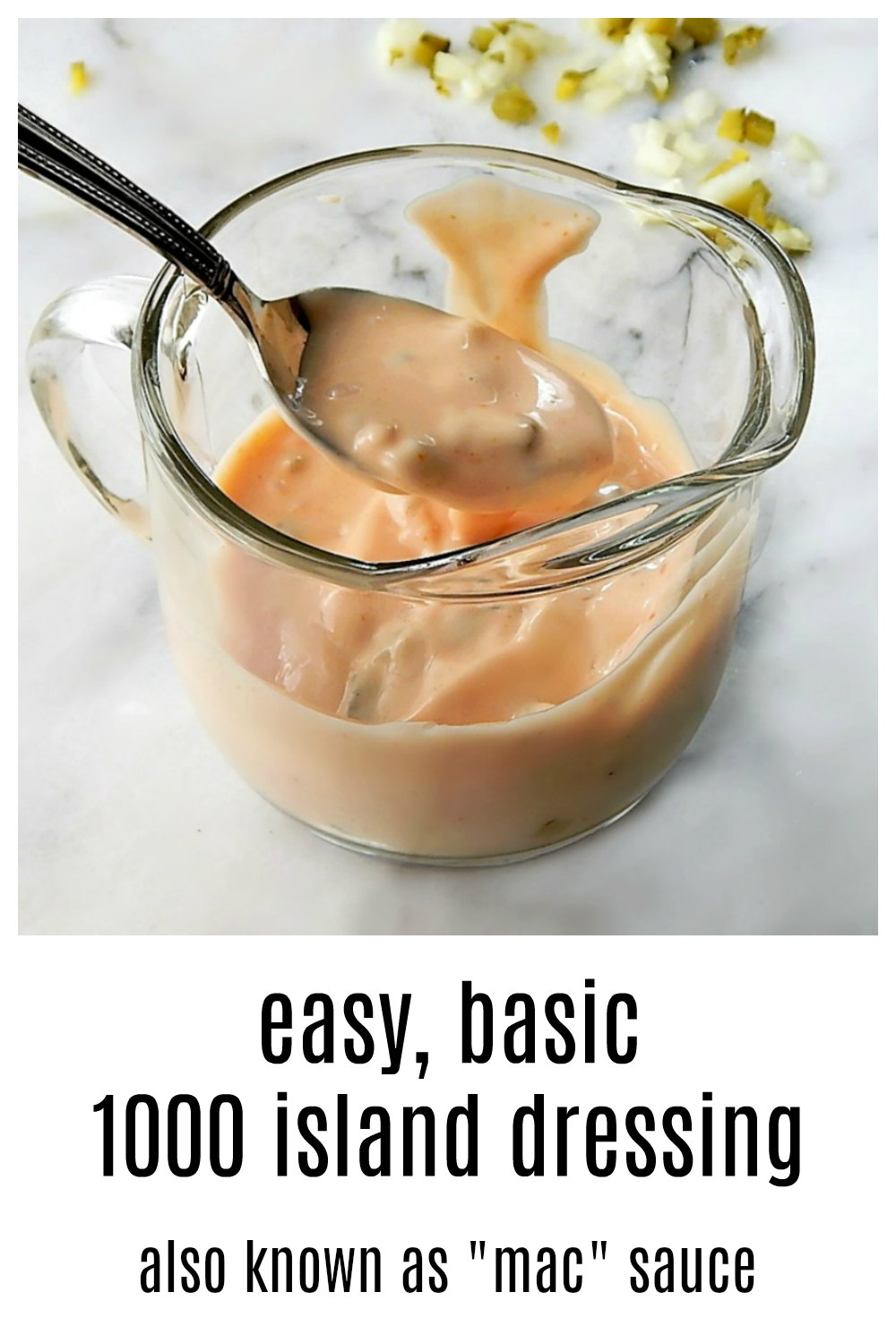 "Thousand Island Dressing is making a comeback, due to McDonald's restaurants. It's morphed from a classic, but old-fashioned salad dressing to the ""special sauce"" on a Big Mac into all-purpose dipping sauce, popular with the younger generations. Here's how to make the real stuff! #MacSauce #HomemadeMacSauce #ThousandIslandDressing #Homemade1000Island #Homemade1000Island #1000Island #HomemadeSaladDressings #ReubenSandwiches"