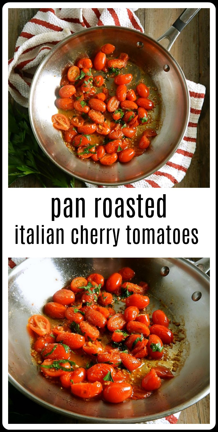 Pan Roasted Cherry Tomatoes are a simple back pocket recipe - they make a gorgeous side or can be tossed in a pasta to get dinner on the table in no time! #PanRoastedCherryTomatoes #CherryTomatoRecipe