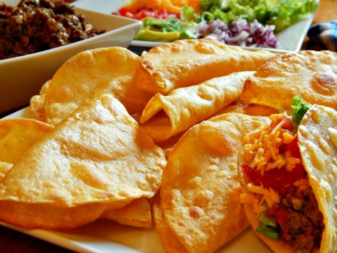 Picadillo Tacos - shown here with home-made taco shells