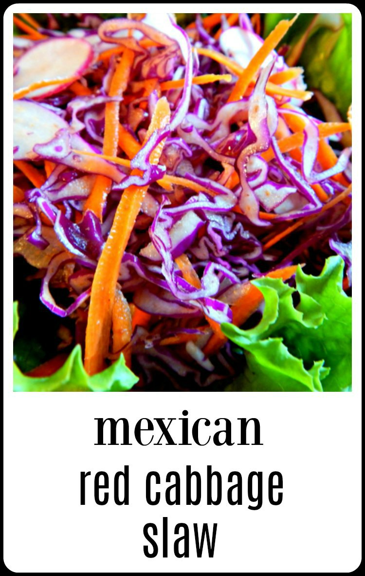 Mexican Red Cabbage Slaw is so fresh and gorgeous you'll want to serve it all the time with your tacos, tostadas or as a side. Easy to make, Inexpensive and keeps well. #MexicanRedCabbageSlaw #MexicanSlaw, #MexicanSlaw #MexicanColeSlaw #ColeSlaw