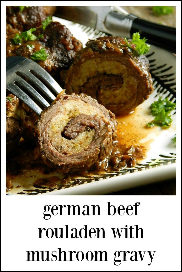 German Beef Rouladen, Mushroom Gravy