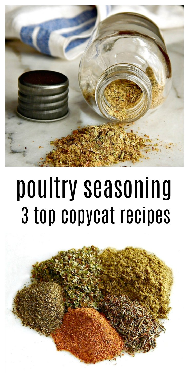 It's easy to whip up your own fresh, flavorful poultry seasoning - here are the three top copycat recipes for Schillings, Bells and McCormick's. #PoultrySeasoning #CopycatPoultrySeasoning