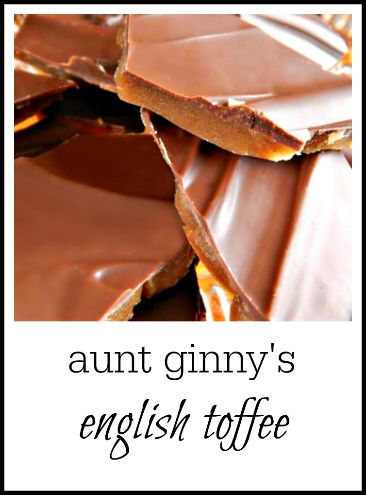 Classic English Toffee - add almonds if you'd like. Leave off the chocolate if you want it plain. But why? :)