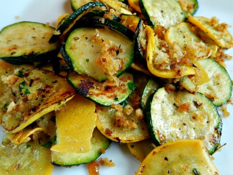 Summer Squashes with Herbed Bread Crumbs.
