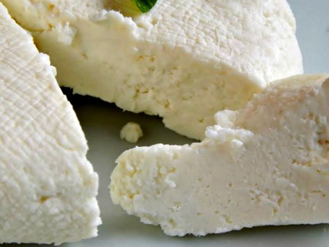 Home-made Queso Fresco, pressed over night