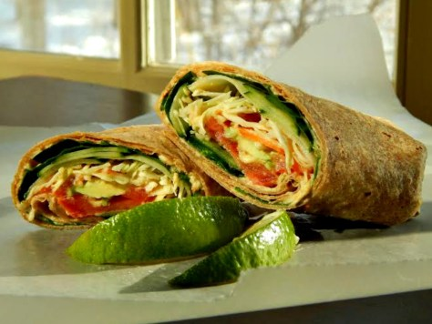 Wraps made with hummus - made with dried Chickpeas