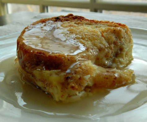 Irish Bread & Butter Pudding with Whiskey (or Rum) Sauce