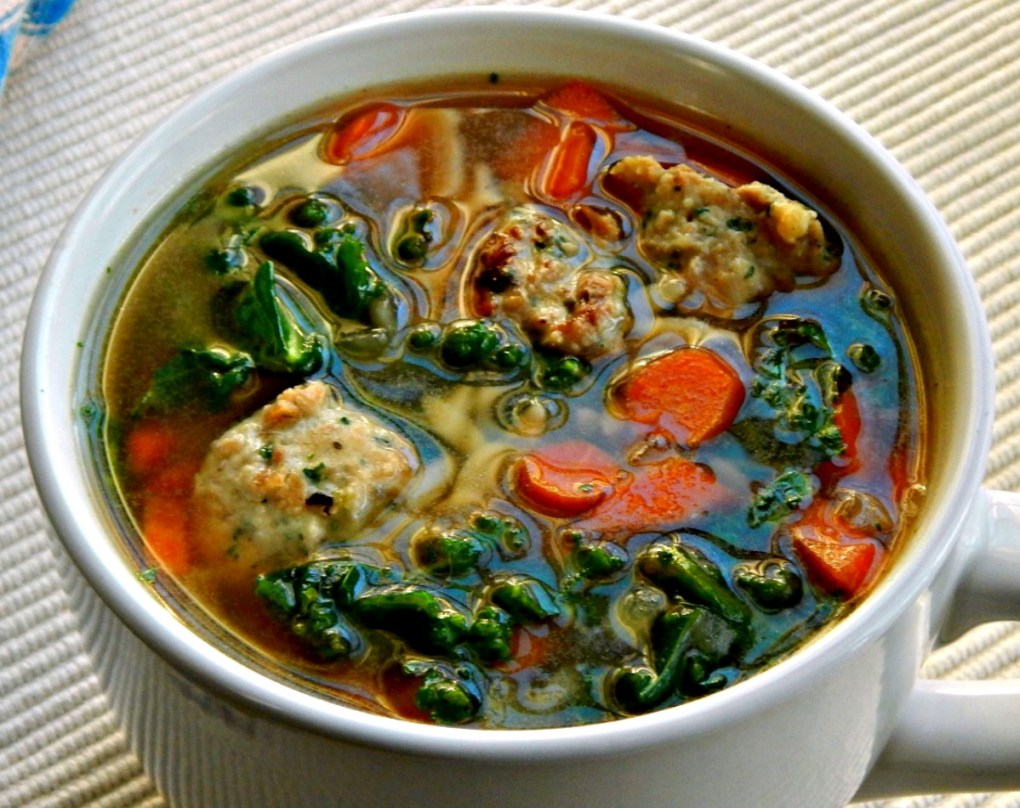 Turkey or Chicken Ricotta Meatballs in Italian Wedding Soup