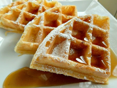 Marion Cunninham's Waffles, adapted. So incredibly crisp, yet creamy inside.
