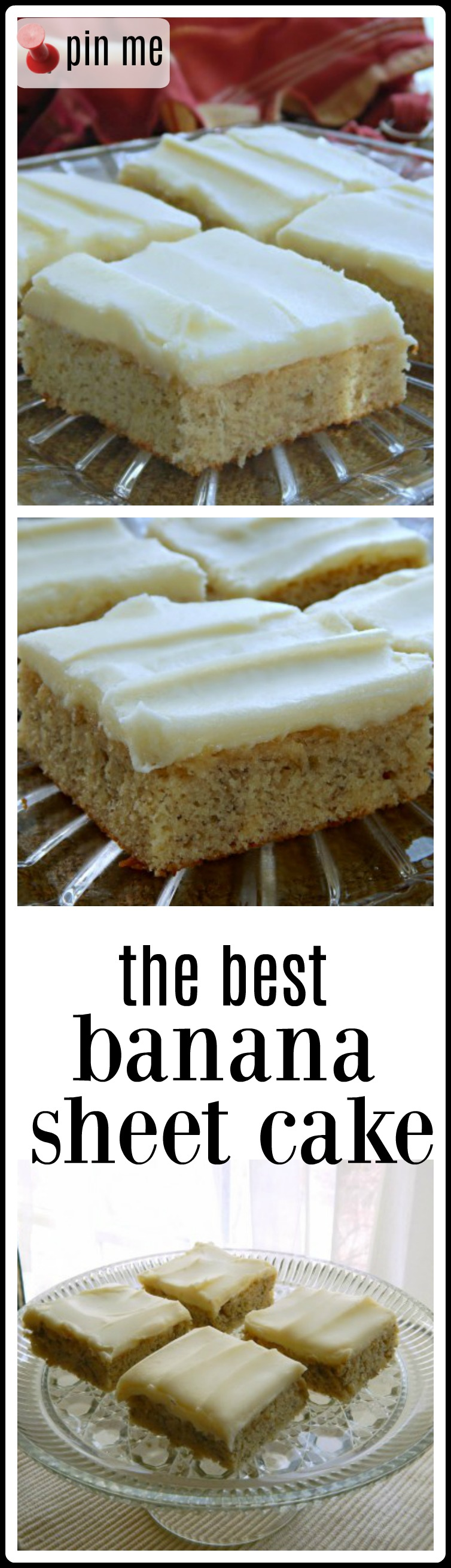 Banana Sheet Cake with Cream Cheese Frosting: this is a rich, moist, bursting with banana flavor cake topped with a (not too sweet) cream cheese frosting, passed to me by a co-worker who is a potluck queen and treasured ever since. #BananaSheetCake #BestBananaSheetCake