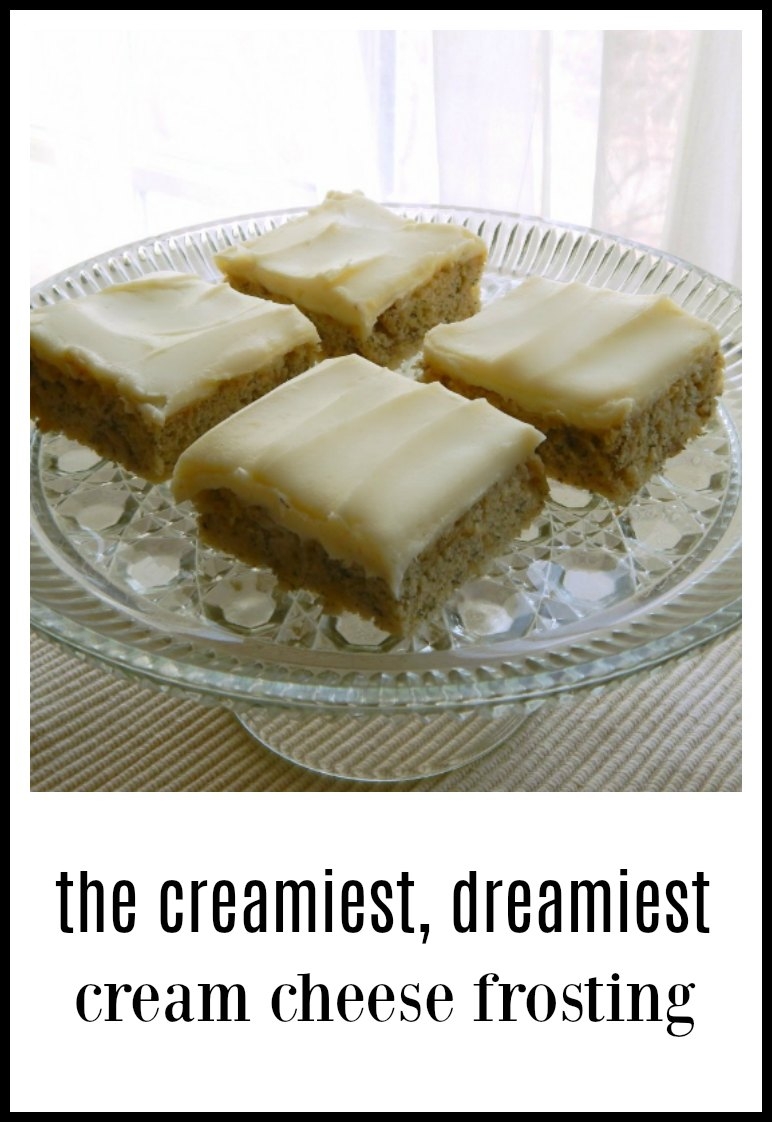 Cream Cheese Frosting for Topping Cakes is absolutely creamy and dreamy and quite a bit less sweet than most Cream Cheese Frostings. #CreamCheeseFrosting #InaGartensCreamCheeseFrosting