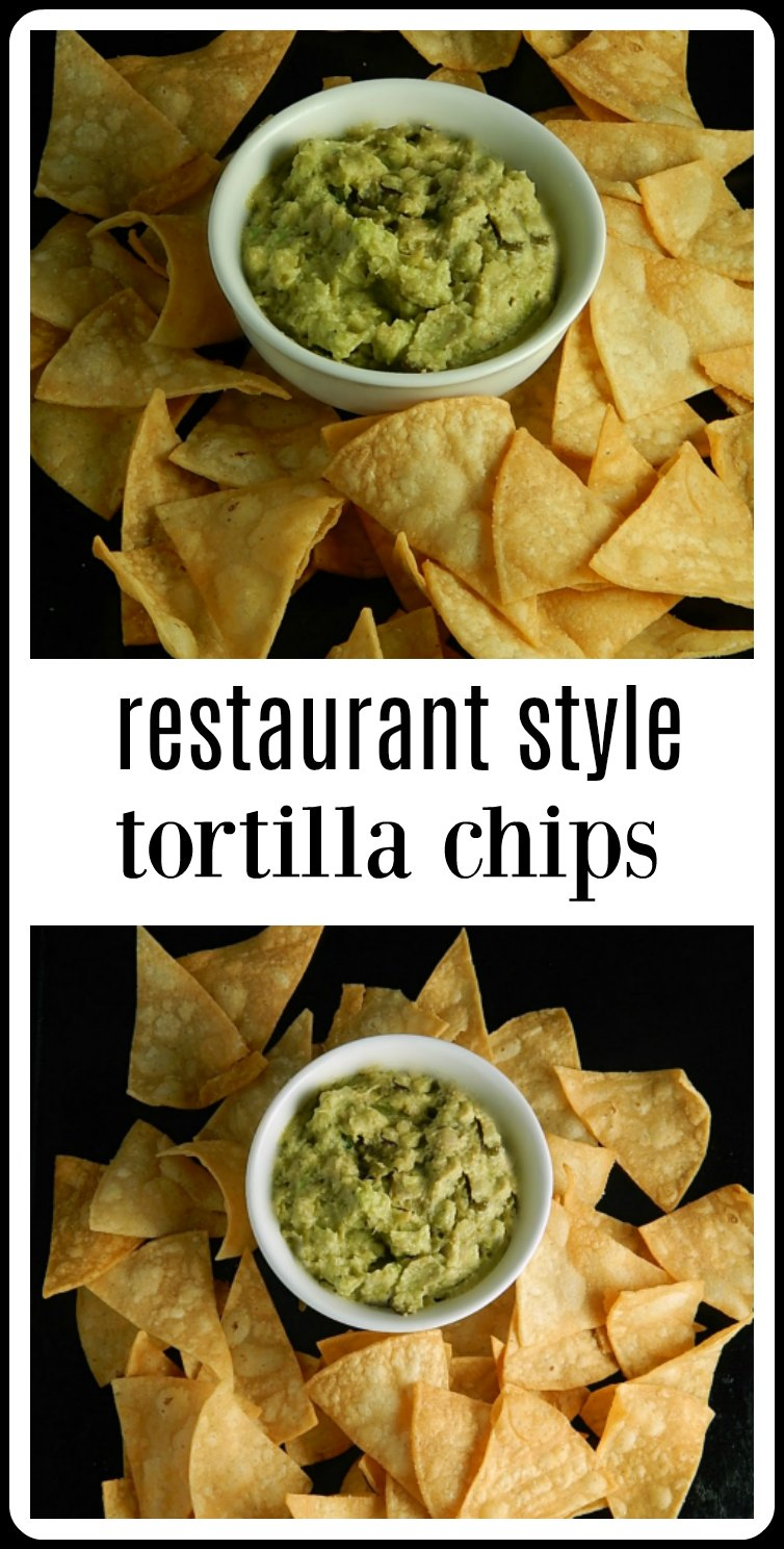 Homemade tortilla chips take just minutes to fry up and you are going to get a restaurant style chip right at home. You could bake but these are too good! #HomemadeTortillaChips #RestaurantStyleTortillaChips