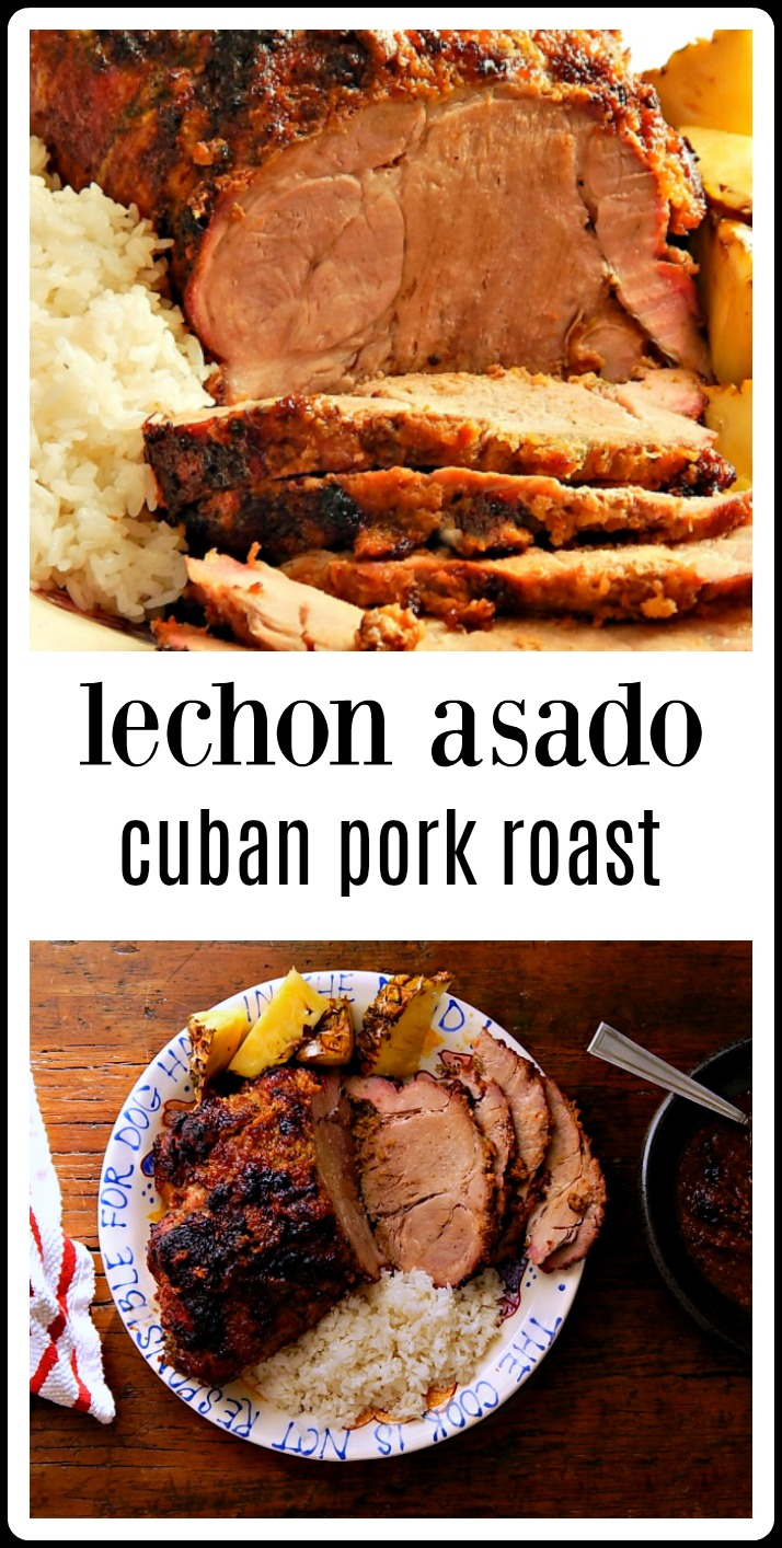 Cuban Lechon Asado or Cuban Pork Roast. Tender citrusy garlicky Roast to slice or if you want, cook a bit longer and shred. Unbelievably delish!! You'll go crazy waiting for it, it smells so good as it cooks! #LechonAsado #CubanPorkRoast