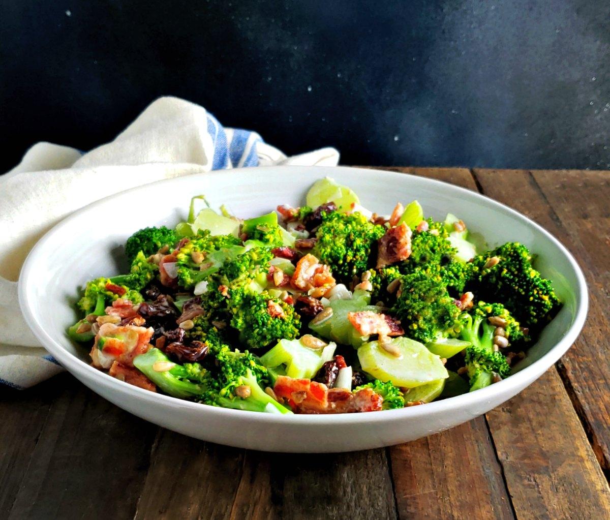 Crazy Broccoli Salad Lighter No Mayo Version Frugal Hausfrau