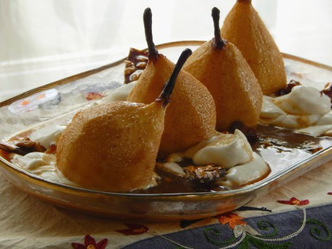 Roasted Pears with Lemon Cream and Maple Caramel Syrup