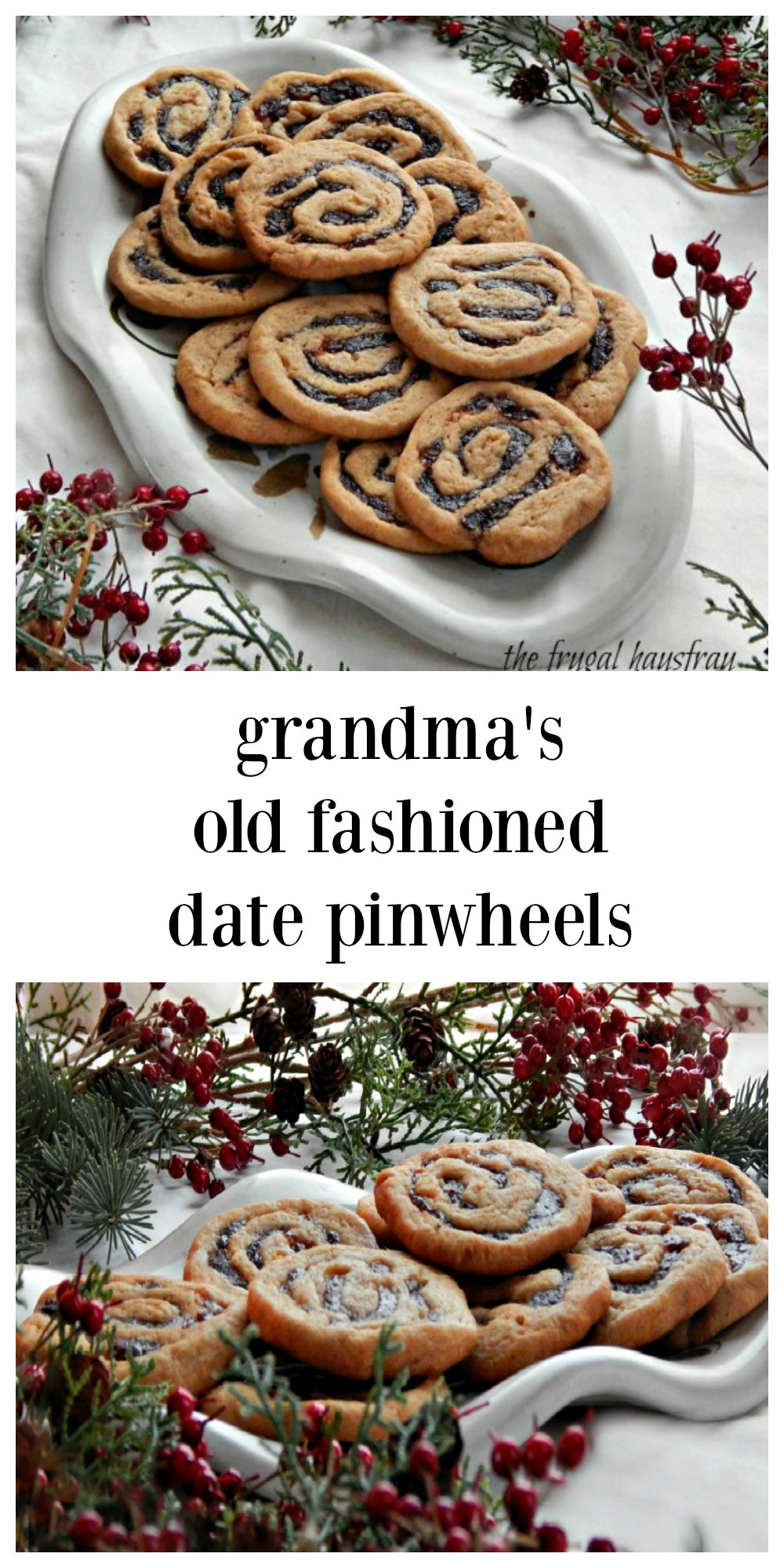 Grandmas Cookies are always the best & stand the test of time! Old Fashioned Date Pinwheels are crispy on the edges still have that great chewiness. Best of both worlds! These are make-ahead icebox cookies. Roll them into logs, refrigerate and slice and bake when you need them. A log keeps several days in the fridge and can be frozen. Just think, freshly-baked no effort cookies whenever you need them! #Pinwheels #DatePinwheels #OldFashionedPinwheels #IceboxCookies #IceboxDatePinwheels #SliceAndBakeCookies